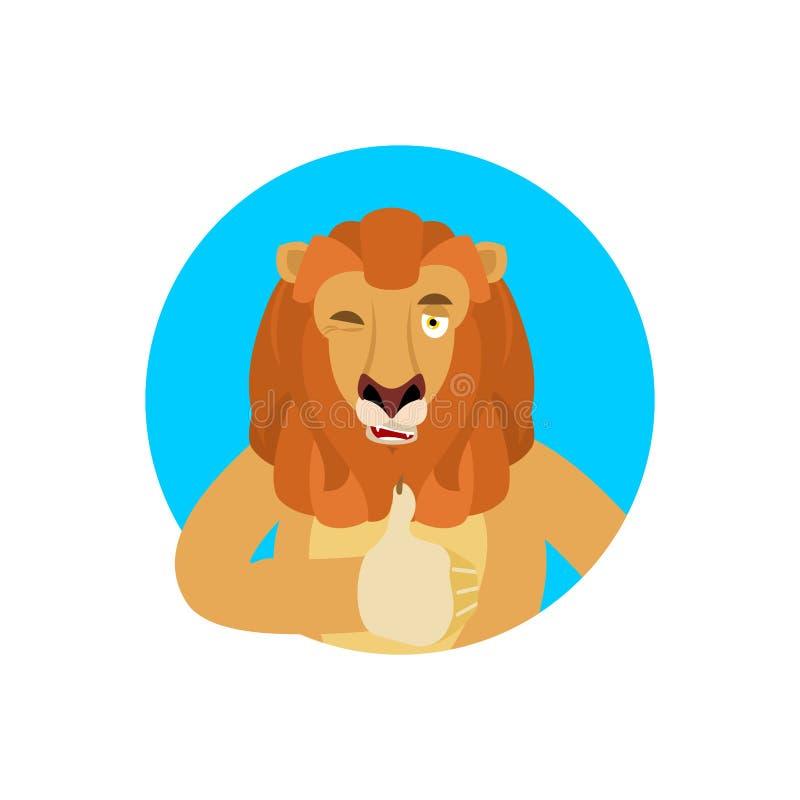 Lwów mrugnięć i aprobat emoji Dzikiego zwierzęcia szczęśliwy emoji wektor ilustracji