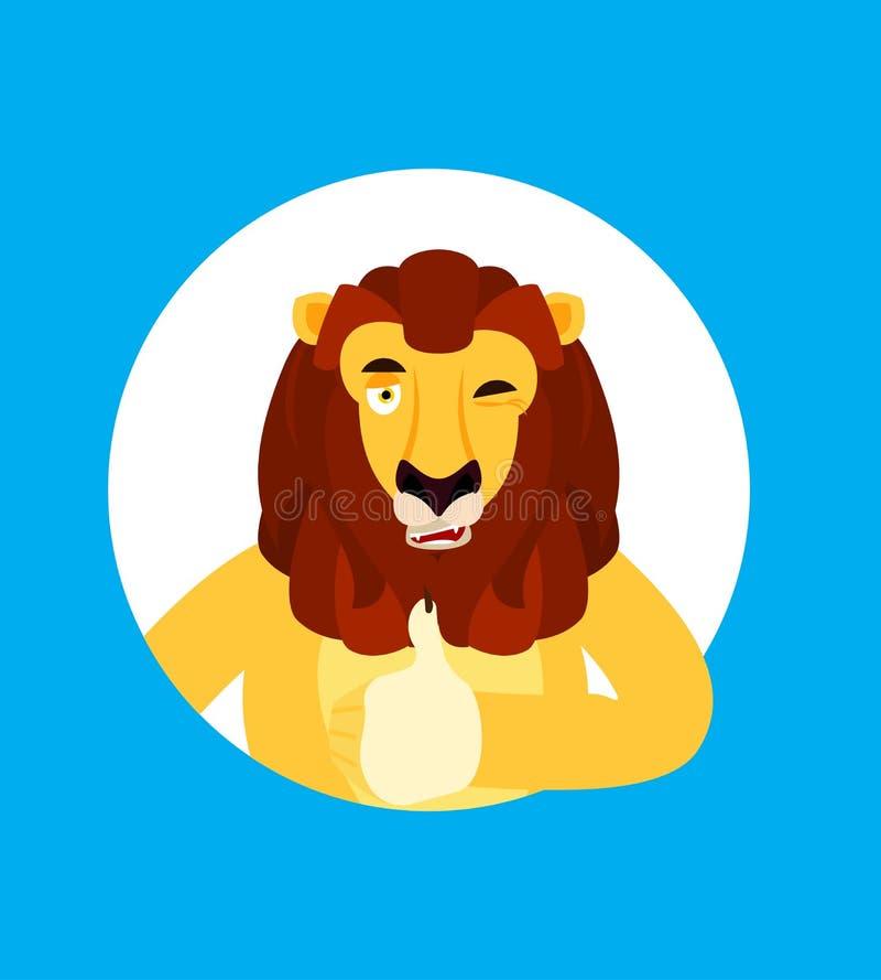 Lwów mrugnięć i aprobat emoji Dzikiego zwierzęcia szczęśliwy emoji wektor royalty ilustracja