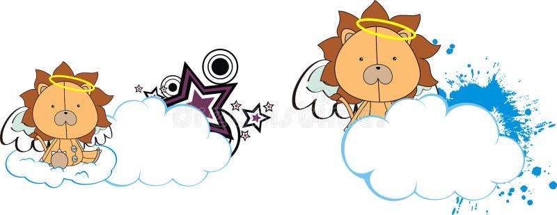 Lwa ślicznego dziecka anioła kreskówki pluszowa chmura ilustracji