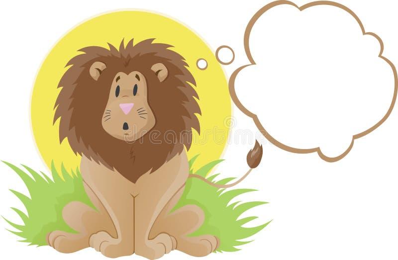 lwa śliczny myśliciel royalty ilustracja