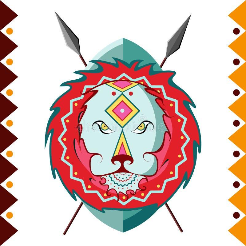 lwa afrykańskiego Afryka zwierzę w koloru wzoru wektoru ilustraci ilustracji