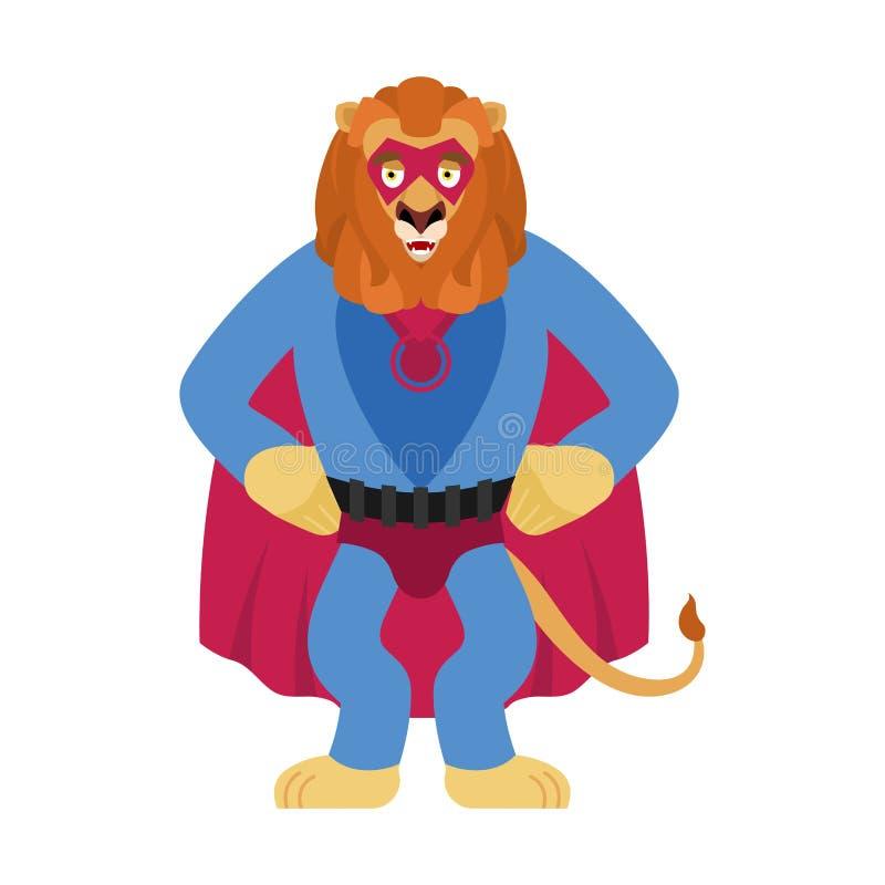 Lwa bohater Super dzikie zwierzę w masce i deszczowu Silna bestia ilustracja wektor