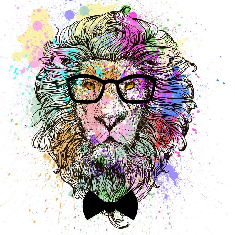 Lwa charakteru kolorowy portret ilustracja wektor
