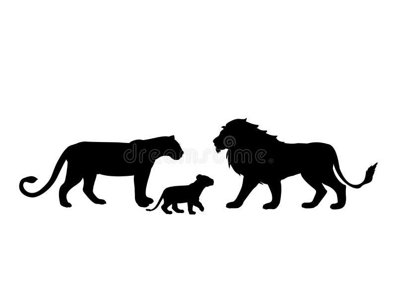 Lwa drapieżnika czerni sylwetki rodzinny zwierzę ilustracji