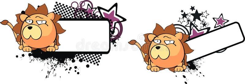 Lwa dziecka balowa kreskówka copyspace2 ilustracja wektor