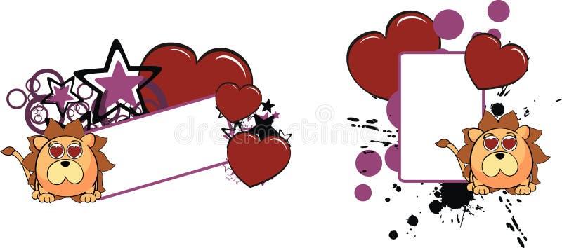 Lwa dziecka balowa kreskówka copyspace3 ilustracja wektor