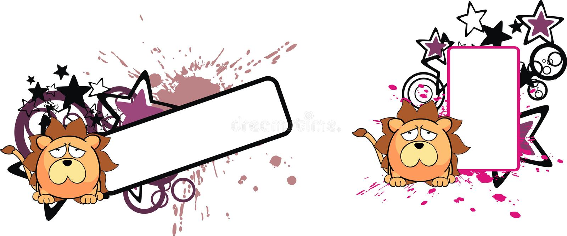 Lwa dziecka balowa kreskówka copyspace4 ilustracji