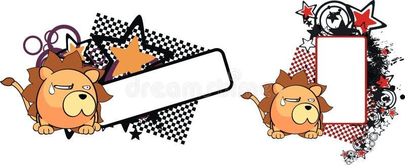 Lwa dziecka kreskówki balowy copyspace ilustracji
