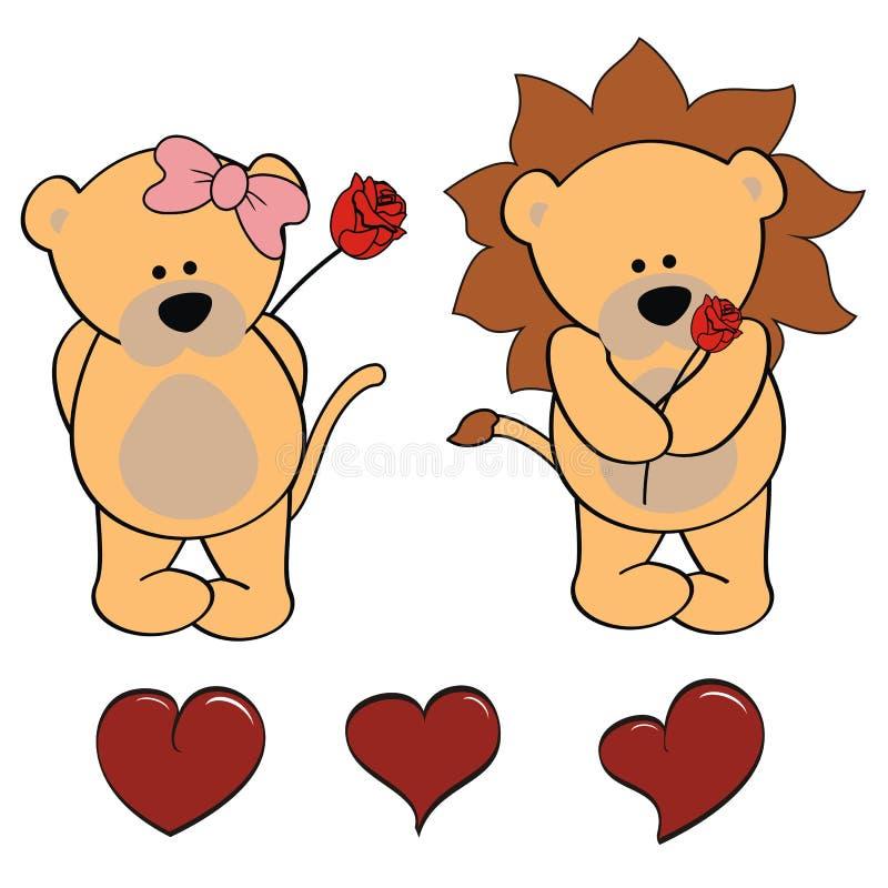 Lwa dziecka kreskówki valentine róży set ilustracja wektor