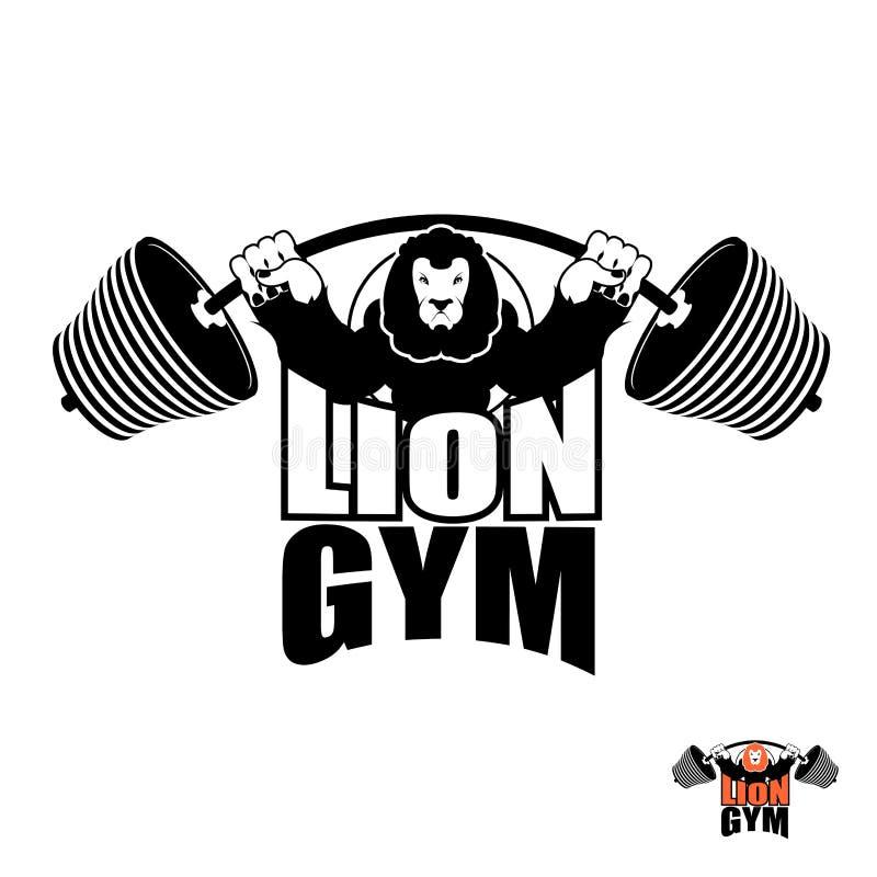 Lwa Gym logo Gniewna Leo silna atleta Barbell i Agresywny royalty ilustracja