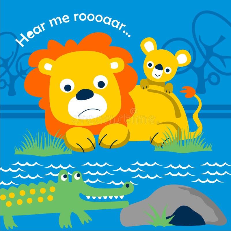 Lwa i krokodyla śmieszna zwierzęca kreskówka, wektorowa ilustracja royalty ilustracja