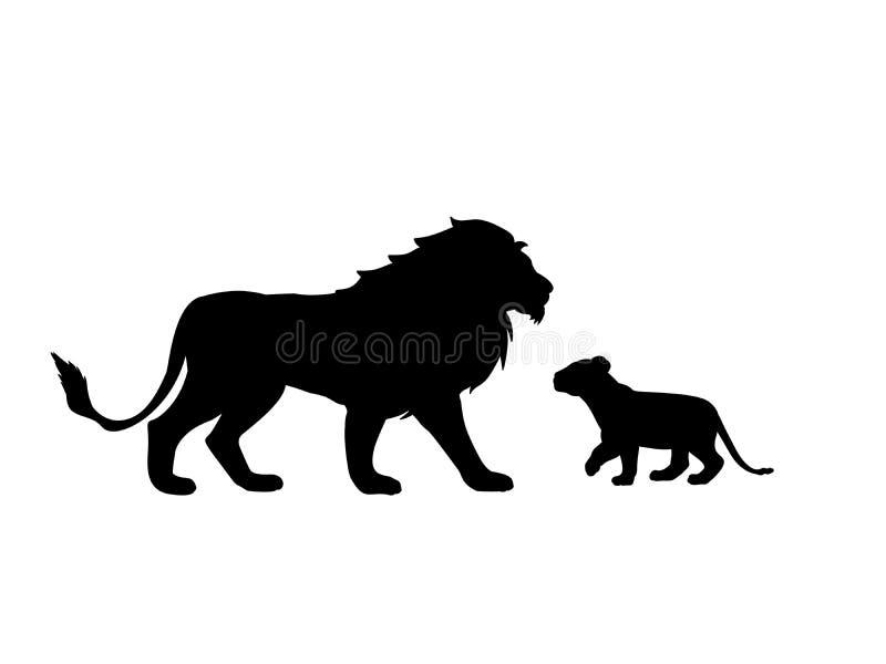 Lwa i lwa lisiątka drapieżnik czerni sylwetki zwierzęcia ilustracja wektor