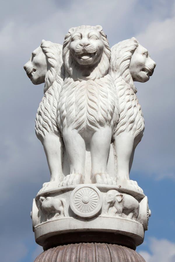 Lwa kapitał filary Ashoka od Sarnath zdjęcie royalty free
