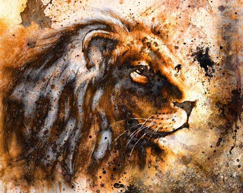 Lwa kolaż na koloru abstrakcjonistycznym tle, zrudziała struktura, przyrod zwierzęta ilustracji