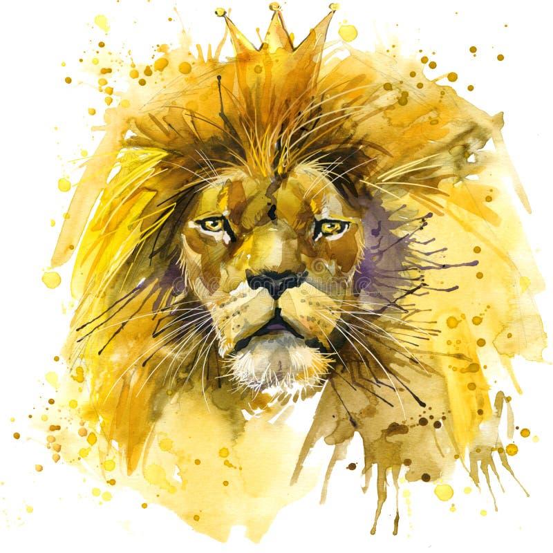 Lwa królewiątka koszulki grafika, lew ilustracja z pluśnięcie akwarelą textured tło niezwykły ilustracyjny akwarela lew royalty ilustracja