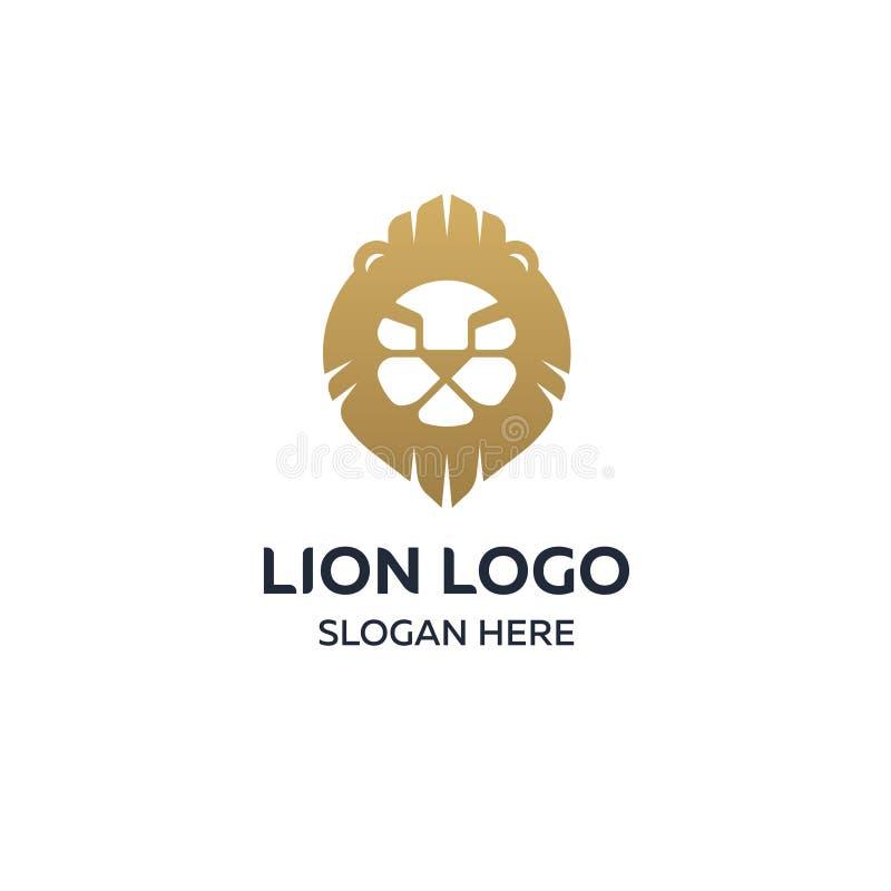 Lwa loga projekta kierowniczy szablon, eleganckiej lew głowy wektorowa ilustracja na ciemnym tle royalty ilustracja