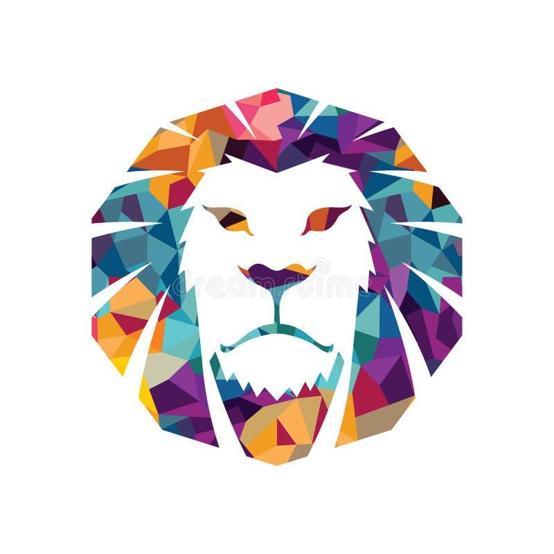 Lwa loga szablonu kota twarzy grafiki znaka kierowniczej kreatywnie ilustracyjnej Zwierzęcej dzikiej dumy silna władza royalty ilustracja