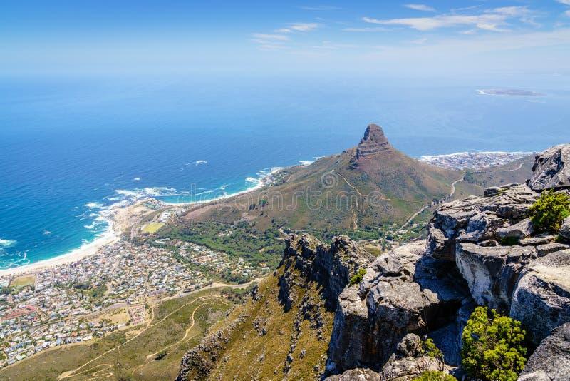 Lwa ` s głowy góra w Kapsztad obraz royalty free