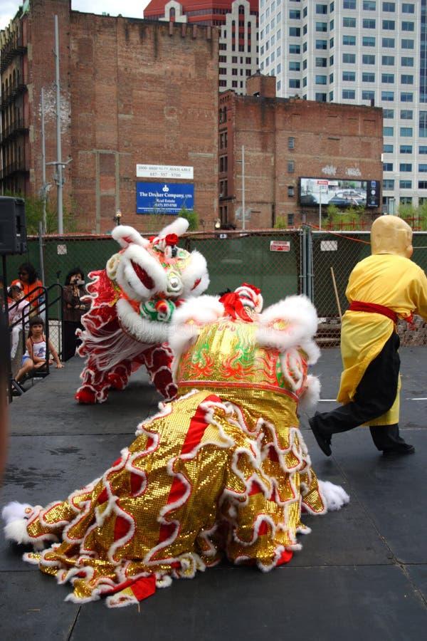 Lwa taniec w Chinatown, Boston podczas Chińskiego nowego roku świętowania obrazy stock