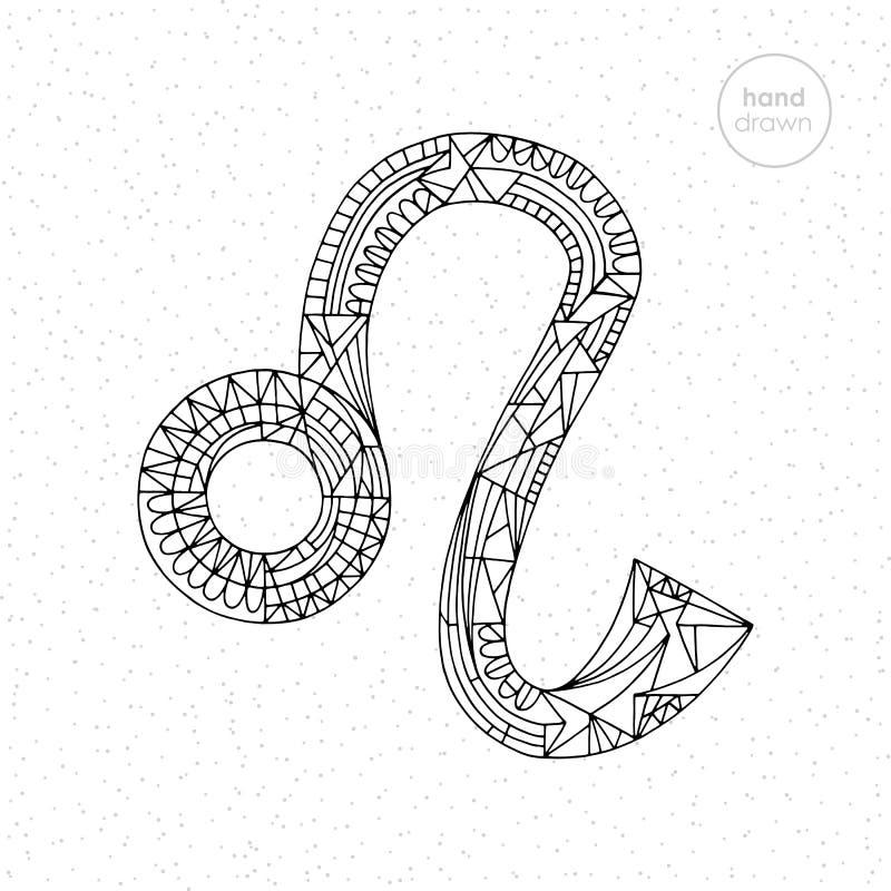 Lwa zodiaka znak Wektorowa ręka rysująca horoskopu Leo ilustracja Astrologiczna kolorystyki strona ilustracji