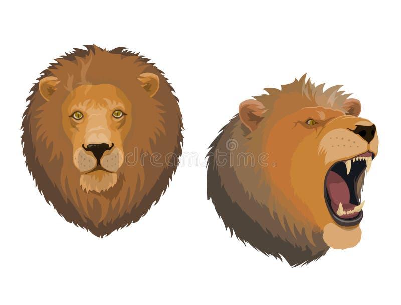 Lwa zwierzęcia głowa gniewny ryczy Leo stawia czoło ilustracja wektor