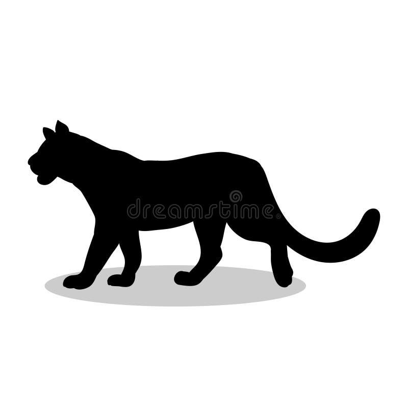 Lwica drapieżnika czerni sylwetki dziki zwierzę ilustracja wektor