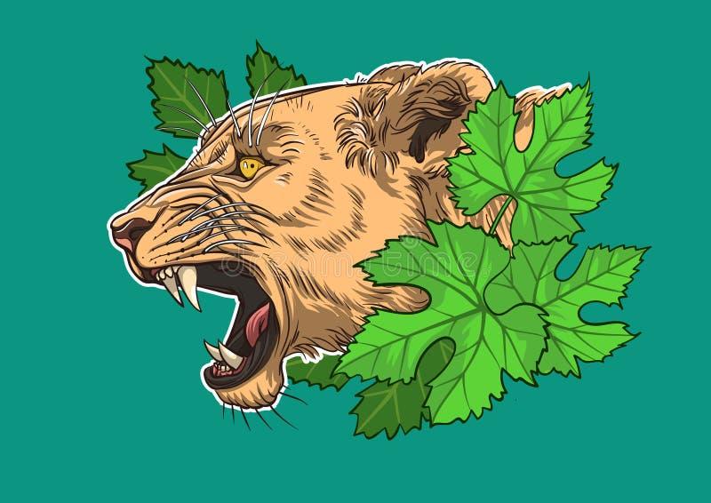 Lwica w gronowych liściach royalty ilustracja