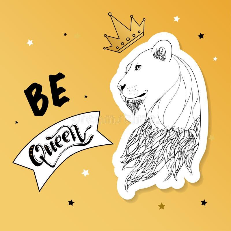 Lwica w koronie z sloganu drukiem royalty ilustracja