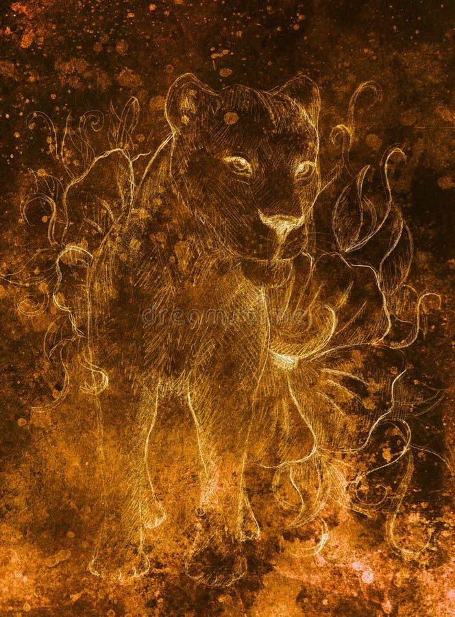 Lwica z kwiatem, ołówkowy rysunek na papierze Koloru skutek i komputeru kolaż royalty ilustracja
