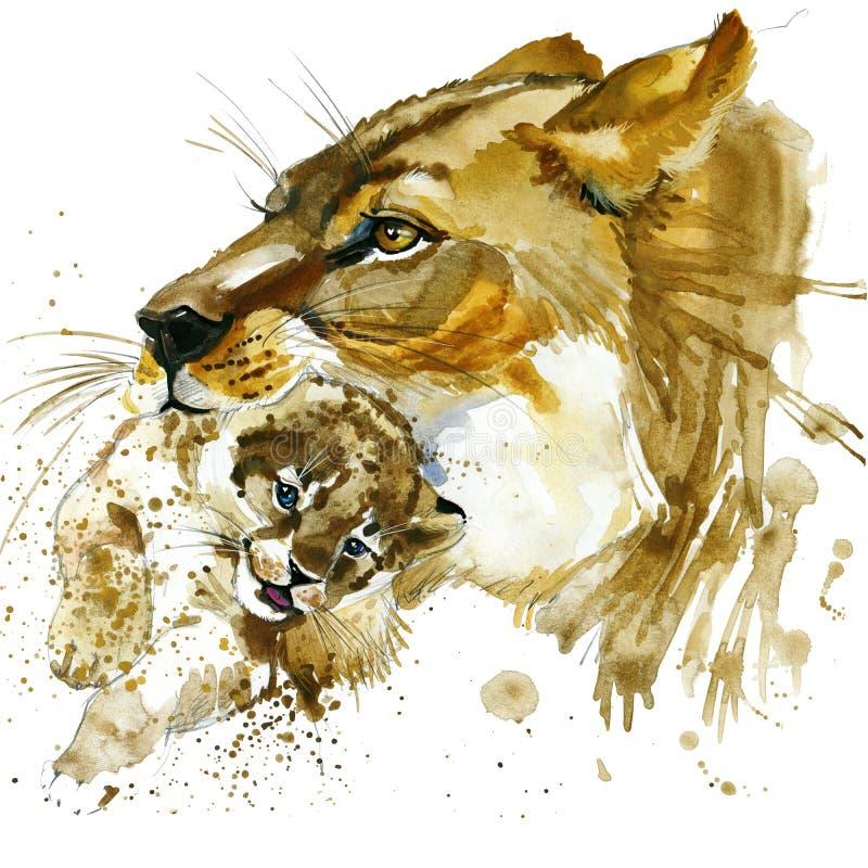 Lwicy i lisiątka koszulki grafika lwicy i lisiątka ilustracja z pluśnięcie akwarelą textured tło niezwykła ilustracja w ilustracja wektor