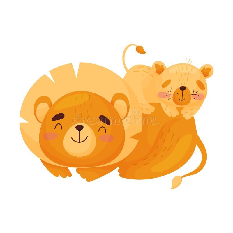 Lwicy i lwa lisi?tko t?a ilustracyjny rekinu wektoru biel ilustracja wektor