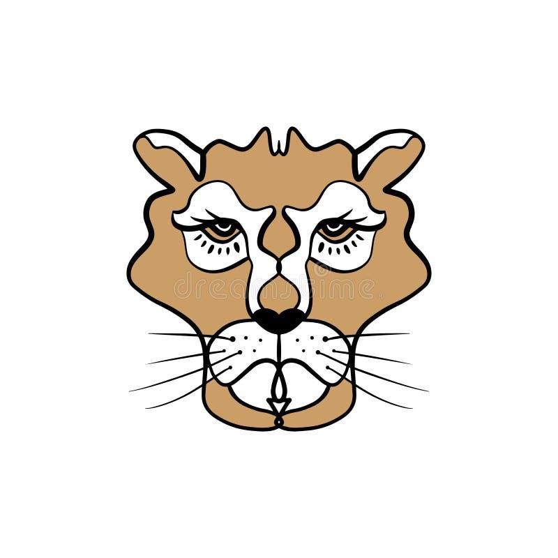 Lwicy kreskowej sztuki minimalny logo Afrykański totem, boho styl, błyskowy tatuażu projekt royalty ilustracja