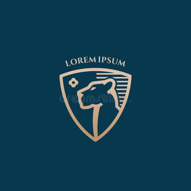 Lwicy twarz w osłona Kreskowego stylu wektoru znaku, symbolu lub loga szablonie Abstrakcjonistycznych, Premia koloru heraldyki Zł ilustracja wektor