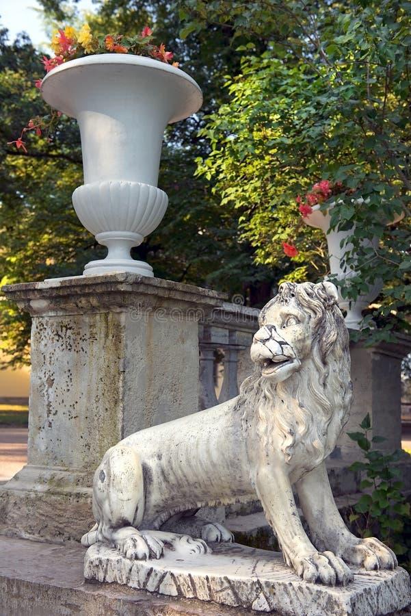 Lwy na ampuła kamienia schody Pavlovsk parku zdjęcie royalty free