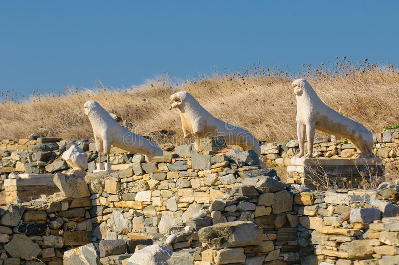 Lwy Taras, Delos wyspa, Grecja zdjęcia royalty free