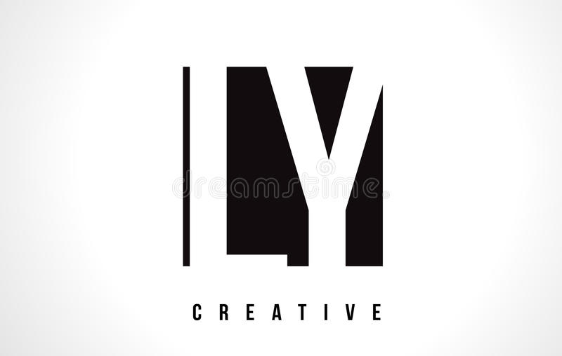 Download LY L Y White Letter Logo Design With Black Square Stock Vector