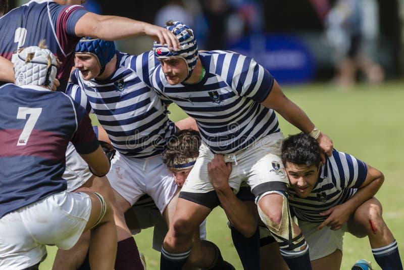 Lycées de 1ères équipes d'action de rugby photos stock