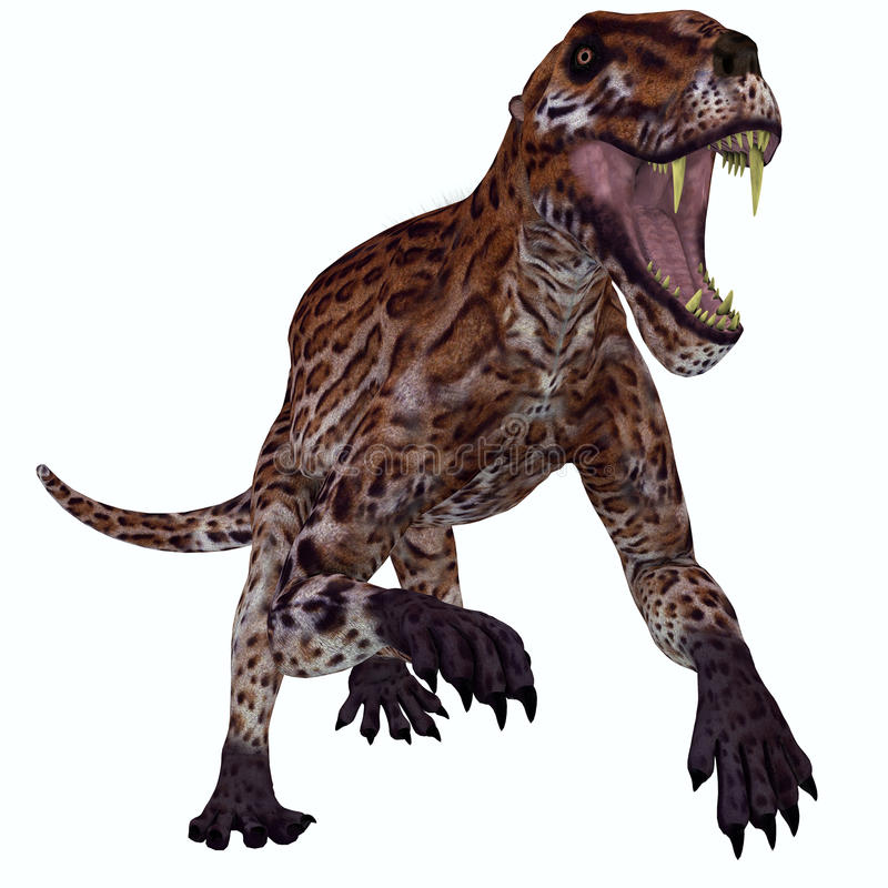 Lycaenops Permian Cat. Lycaenops was a carnivorous mammal-like reptile that lived in South Africa during the Permian Period stock illustration