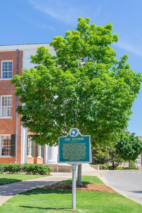 The Lyceum Building at Ole Miss. OXFORD, MS/USA - JUNE 7, 2018: The Lyceum building on the campus of the University of Mississippi stock photo