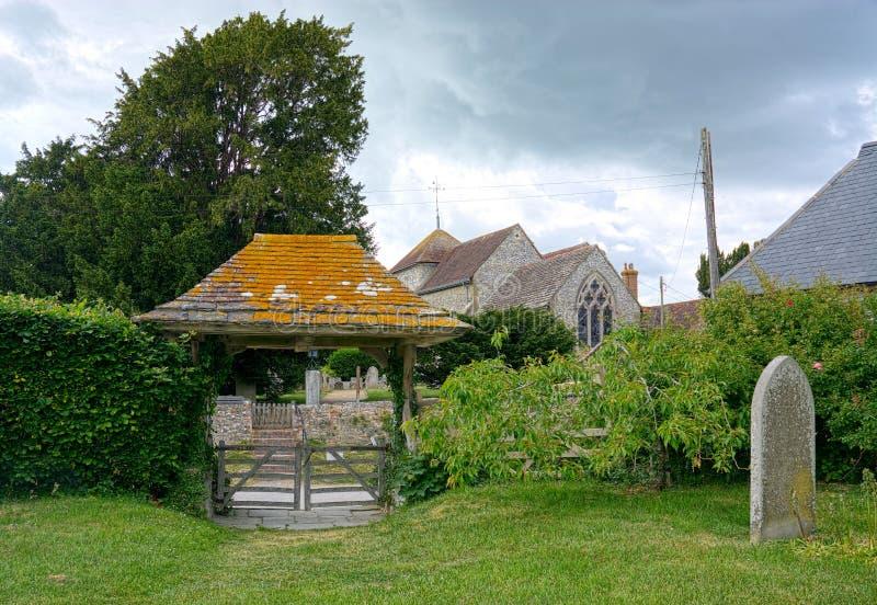Lych port & kyrka av St Mary Sullington sussex UK royaltyfri foto