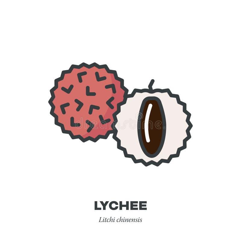 Lychee果子象,填装了概述样式传染媒介 库存例证