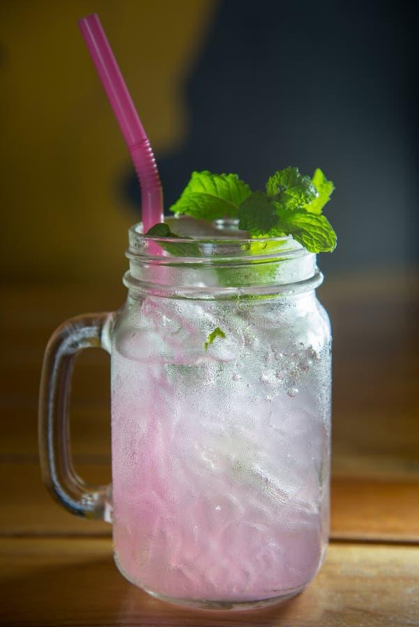 Lychee泡沫腾涌的饮料用薄菏和苏打 免版税库存照片