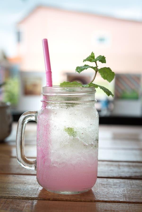 Lychee泡沫腾涌的饮料用薄菏和苏打 免版税图库摄影