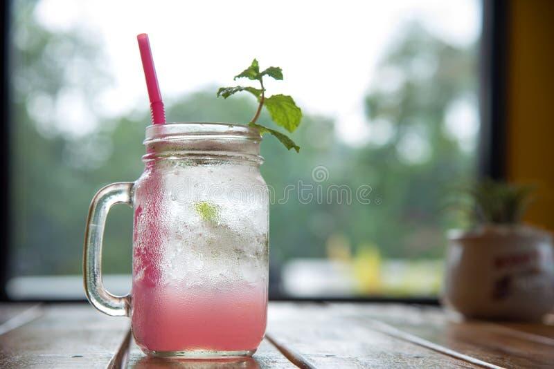 Lychee泡沫腾涌的饮料用薄菏和苏打 库存照片