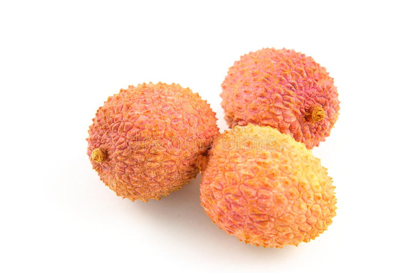 Lychee fruits isolated on a white background stock photography