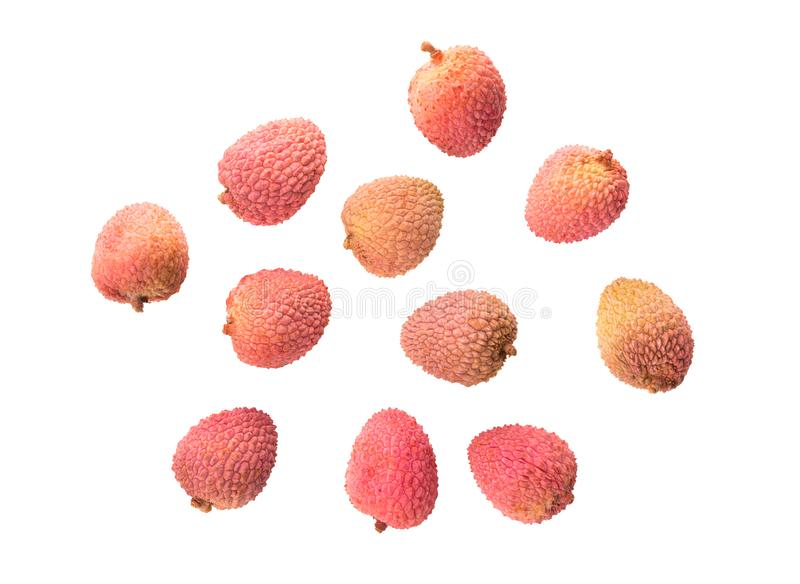 Lychee isolated on white background. Top view stock image
