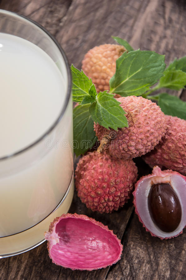 Lychee Juice with fresh fruits royalty free stock photos