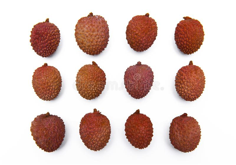Lychee, Litchi fruits isolated on the white background royalty free stock photos