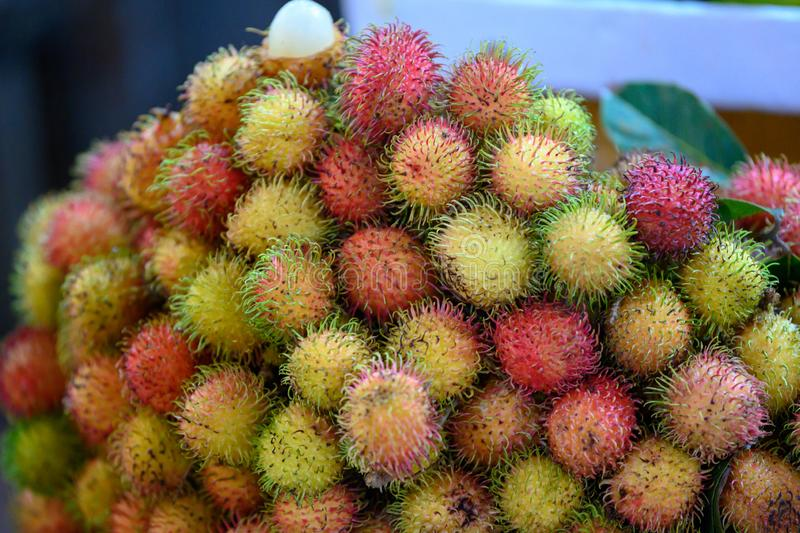 Rambutan exotic fruit of the lychee family on market in Saigon, Vietnam. Fresh lychees stapled on market in Ho-Chi-Minh-City stock photos