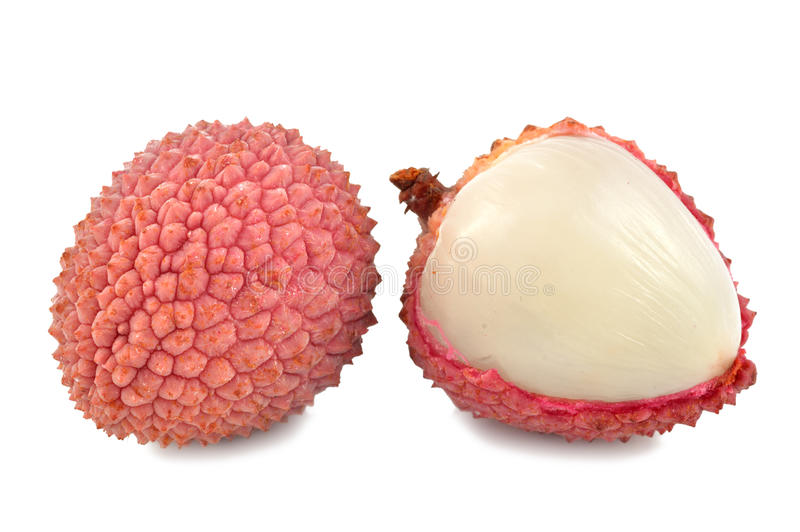 Lychee on a white background royalty free stock photography